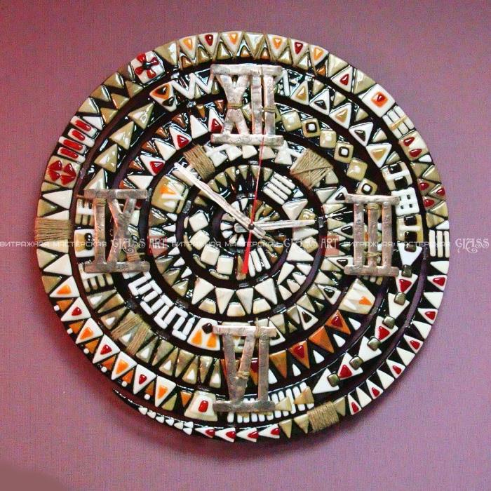 Часы настенные фьюзинг медь